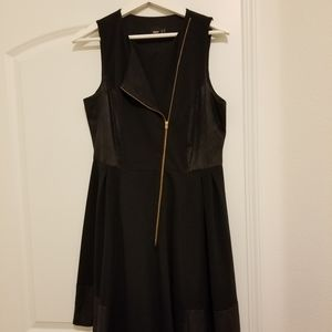 Asos black dress with a golden zipper on the front